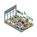 Relaxed creative people meeting in room interior. 3d isometric coworking and teamwork vector concept. Teamwork in office room illustration Royalty Free Stock Image