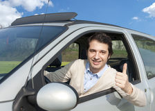 Relaxed driver thumb up Royalty Free Stock Photos
