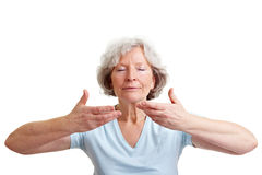 Relaxed eldery woman breathing Royalty Free Stock Image