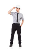 Relaxed engineer looking away. Full length Stock Photography