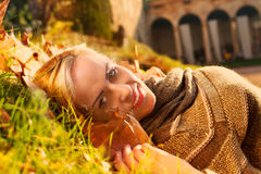 Relaxed fashion model in autumn in a country house Royalty Free Stock Images