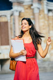Relaxed female college student Royalty Free Stock Photography