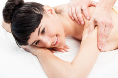 Relaxed female at massage salon Stock Photography