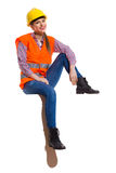 Relaxed Female Worker Sitting Royalty Free Stock Image