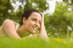 Relaxed fit brunette lying on grass Stock Images