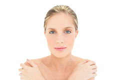 Relaxed fresh blonde woman looking at camera Royalty Free Stock Images