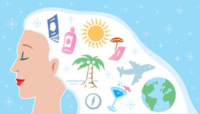 Dreaming of a vacation stock illustration
