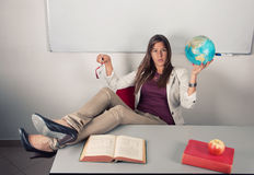 Relaxed girl in school Stock Photography