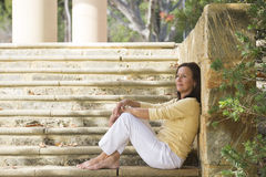 Relaxed happy mature woman outdoor Royalty Free Stock Images
