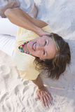 Relaxed happy smiling senior woman beach Stock Photography