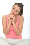 Relaxed Happy Thoughtful Attractive Young Woman Portrait Stock Photo