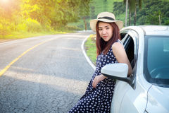 Relaxed happy traveler, Young beatiful asian gilr Stand leaning Stock Photo