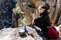 Relaxed hiking woman Stock Photography