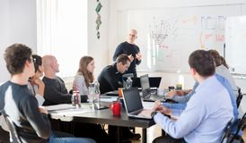Relaxed informal IT business startup company team meeting. Royalty Free Stock Photos