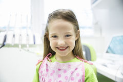 Relaxed little girl at dental office Royalty Free Stock Images