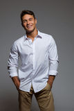 Relaxed Male Model In White Shirt Stock Photo