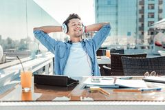 Relaxed Male Person Listening Music Stock Photography