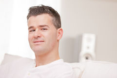 Relaxed man having finally his time off Stock Photo
