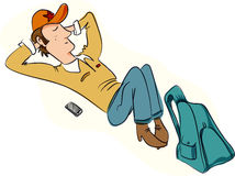 Relaxed man. Lying down with bag and phone stock illustration