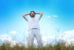 Relaxed man in nature. Relaxed beautiful  man in nature Stock Photos