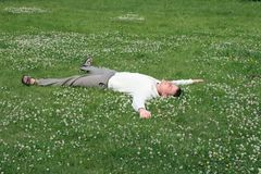 Relaxed man in park Royalty Free Stock Image