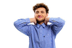 Relaxed man touching his neck Royalty Free Stock Photo