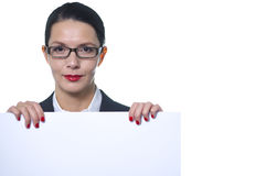 Relaxed manageress holding a blank sign Royalty Free Stock Photography
