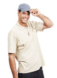 Relaxed mature man standing against white smiling Royalty Free Stock Photography