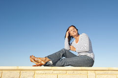 Relaxed middle aged smiling woman outdoor Royalty Free Stock Photo