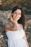 Relaxed natural woman summer portrait Stock Photos