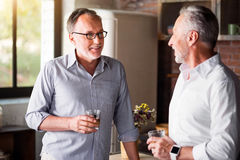 Relaxed old friends drinking whiskey in the kitchen Stock Images