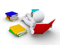 Relaxed person is reading. 3d person lying on the ground is reading a book Royalty Free Stock Photos