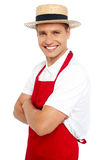 Relaxed portrait of smiling handsome chef Stock Photos