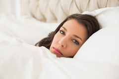 Relaxed pretty brown haired woman lying in her bed Stock Photography