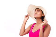 Relaxed, refreshing, happy summer lady. White isolated background Royalty Free Stock Photo