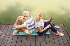 Relaxed senior couple Stock Images