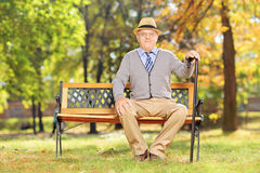 Relaxed senior gentleman sitting on a wooden bench in a park Royalty Free Stock Image