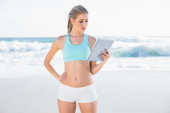 Relaxed slender blonde in sportswear using tablet stock photo