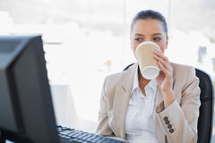 Relaxed sophisticated businesswoman drinking coffee. In bright office Stock Image