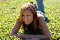 Relaxed teen girl stock image
