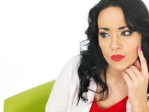 Relaxed Thoughtful Pensive Beautiful Young Hispanic Woman Considering a Situation Royalty Free Stock Photos