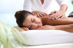 Relaxed time on massage bed Stock Photo