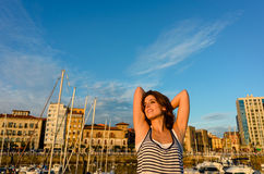 Relaxed tourist enjoying european summer vacation Royalty Free Stock Photos