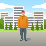 Relaxed trendy young Latino man with mustache in casual clothes stock illustration