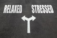 Relaxed vs stressed choice concept. Two direction arrows on asphalt Stock Photography