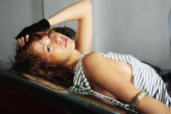Relaxed woman. Portrait of a styled professional model in a car session Stock Photo