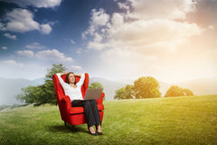 Relaxed woman with closed eyes Royalty Free Stock Photography
