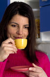 Relaxed woman in a coffee break Royalty Free Stock Images