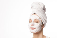 Relaxed woman in a face mask Stock Photography
