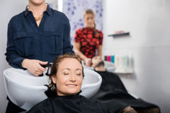 Relaxed Woman Getting Hair Washed In Salon Royalty Free Stock Photography